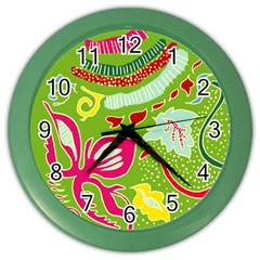 Green Organic Abstract Color Wall Clocks by DanaeStudio