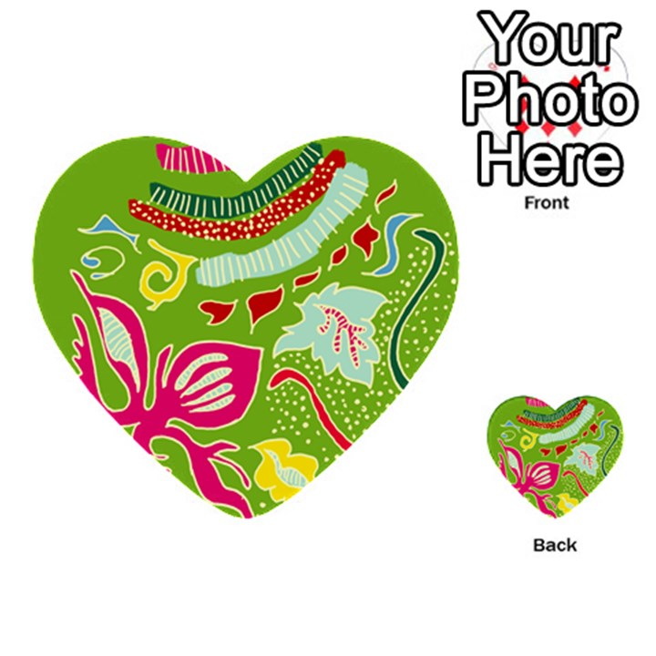 Green Organic Abstract Multi-purpose Cards (Heart)