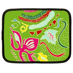 Green Organic Abstract Netbook Case (large) by DanaeStudio