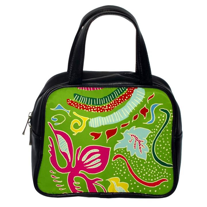 Green Organic Abstract Classic Handbags (One Side)