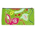 Green Organic Abstract Pencil Cases Back