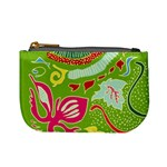 Green Organic Abstract Mini Coin Purses Front
