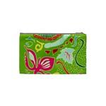 Green Organic Abstract Cosmetic Bag (Small)  Back