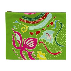 Green Organic Abstract Cosmetic Bag (XL)
