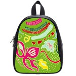 Green Organic Abstract School Bags (Small)  Front