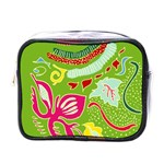 Green Organic Abstract Mini Toiletries Bags Front