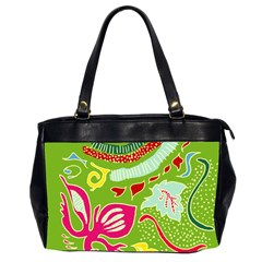Green Organic Abstract Office Handbags (2 Sides)  by DanaeStudio