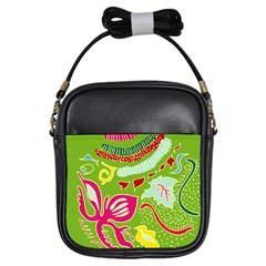 Green Organic Abstract Girls Sling Bags