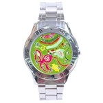Green Organic Abstract Stainless Steel Analogue Watch Front