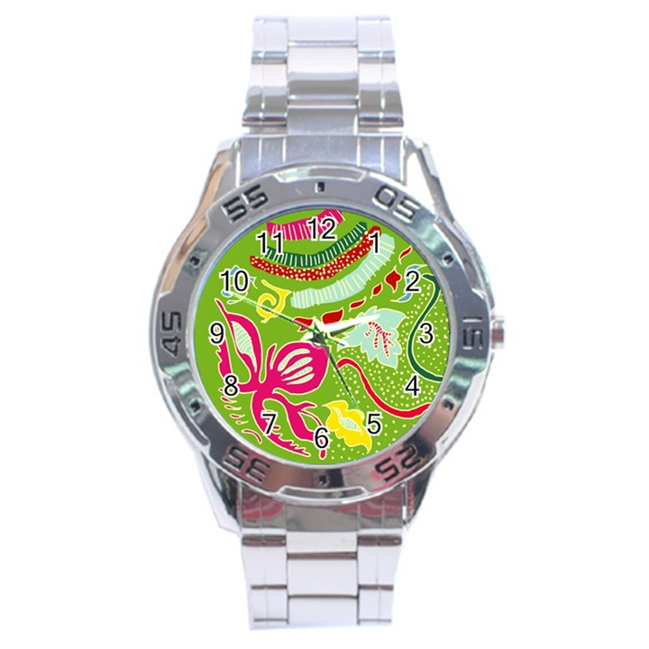 Green Organic Abstract Stainless Steel Analogue Watch