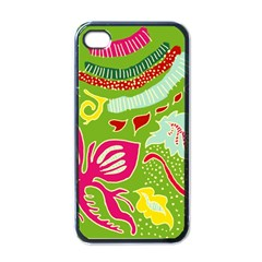 Green Organic Abstract Apple Iphone 4 Case (black) by DanaeStudio