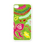 Green Organic Abstract Apple iPhone 4 Case (White) Front