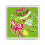 Green Organic Abstract Memory Card Reader (Square)  Front