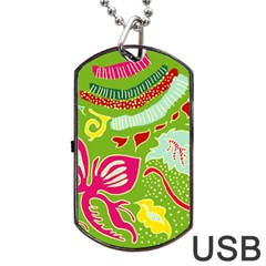 Green Organic Abstract Dog Tag USB Flash (One Side)