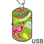 Green Organic Abstract Dog Tag USB Flash (Two Sides)  Back