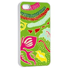 Green Organic Abstract Apple iPhone 4/4s Seamless Case (White)