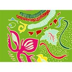 Green Organic Abstract LOVE Bottom 3D Greeting Card (7x5) Front