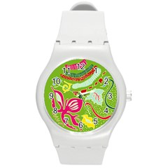 Green Organic Abstract Round Plastic Sport Watch (M)