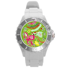Green Organic Abstract Round Plastic Sport Watch (l) by DanaeStudio