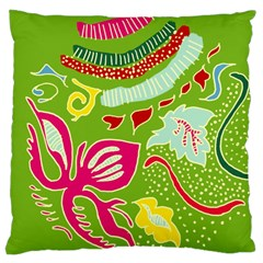 Green Organic Abstract Large Cushion Case (one Side) by DanaeStudio