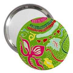 Green Organic Abstract 3  Handbag Mirrors