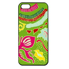Green Organic Abstract Apple Iphone 5 Seamless Case (black) by DanaeStudio