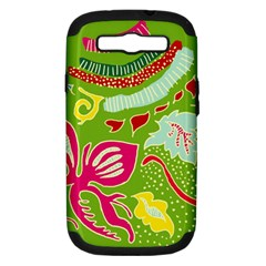 Green Organic Abstract Samsung Galaxy S Iii Hardshell Case (pc+silicone) by DanaeStudio