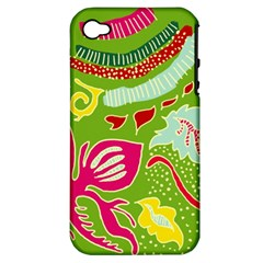 Green Organic Abstract Apple Iphone 4/4s Hardshell Case (pc+silicone) by DanaeStudio