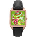 Green Organic Abstract Rose Gold Leather Watch  Front