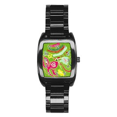 Green Organic Abstract Stainless Steel Barrel Watch