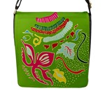 Green Organic Abstract Flap Messenger Bag (L)