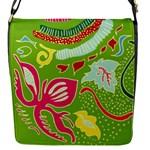 Green Organic Abstract Flap Messenger Bag (S)