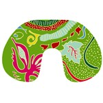 Green Organic Abstract Travel Neck Pillows Front