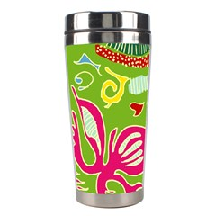 Green Organic Abstract Stainless Steel Travel Tumblers by DanaeStudio