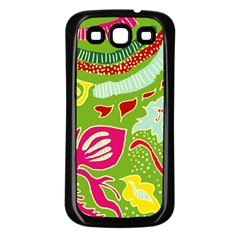 Green Organic Abstract Samsung Galaxy S3 Back Case (black) by DanaeStudio