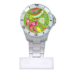 Green Organic Abstract Plastic Nurses Watch by DanaeStudio