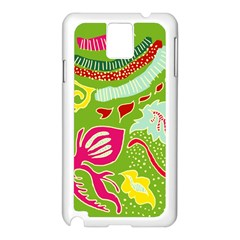 Green Organic Abstract Samsung Galaxy Note 3 N9005 Case (white) by DanaeStudio