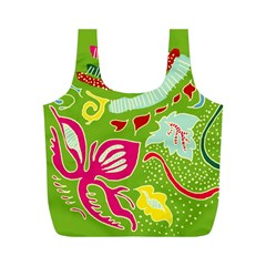 Green Organic Abstract Full Print Recycle Bags (m)  by DanaeStudio