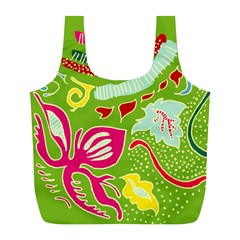 Green Organic Abstract Full Print Recycle Bags (L)