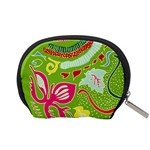 Green Organic Abstract Accessory Pouches (Small)  Back