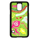 Green Organic Abstract Samsung Galaxy S5 Case (Black) Front