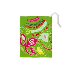 Green Organic Abstract Drawstring Pouches (Small)