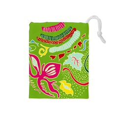 Green Organic Abstract Drawstring Pouches (medium)  by DanaeStudio