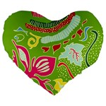 Green Organic Abstract Large 19  Premium Flano Heart Shape Cushions Front