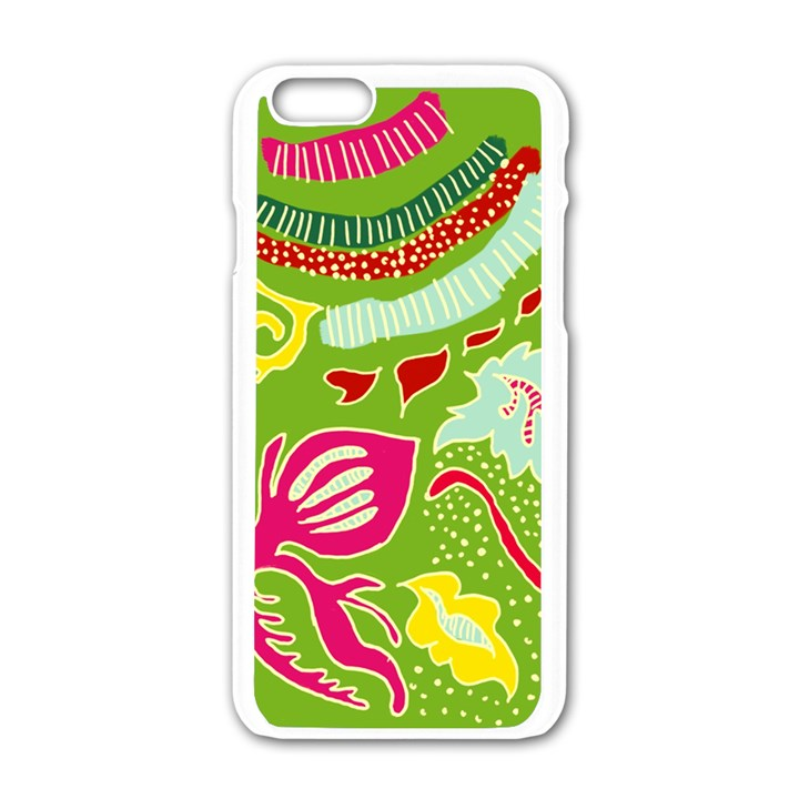 Green Organic Abstract Apple iPhone 6/6S White Enamel Case
