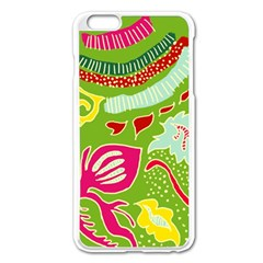 Green Organic Abstract Apple iPhone 6 Plus/6S Plus Enamel White Case
