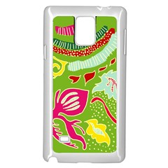 Green Organic Abstract Samsung Galaxy Note 4 Case (white) by DanaeStudio