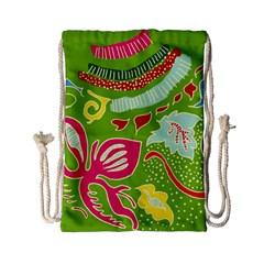 Green Organic Abstract Drawstring Bag (small) by DanaeStudio