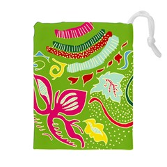Green Organic Abstract Drawstring Pouches (Extra Large)
