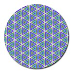Colorful Retro Geometric Pattern Round Mousepads Front